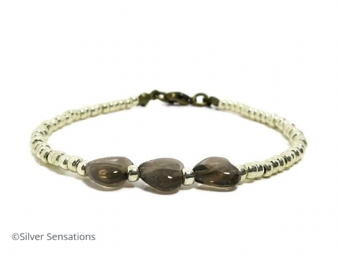 Smokey Quartz Hearts & Seed Bead Friendship Fashion Bracelet